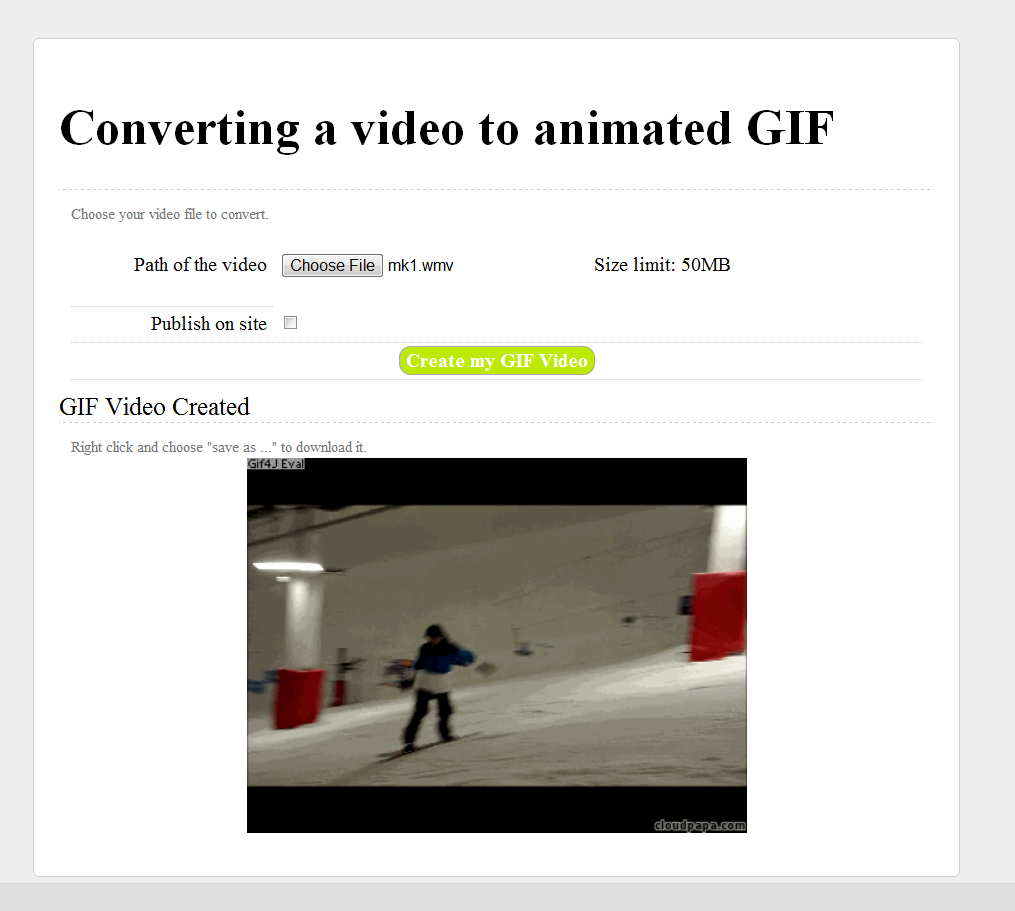 cloudpapa Video to Gif online converter maker