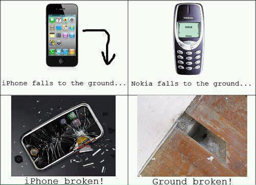 Difference between an Iphone and a Nokia phone hitting on ground