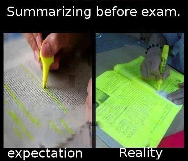 Summarizing before exams